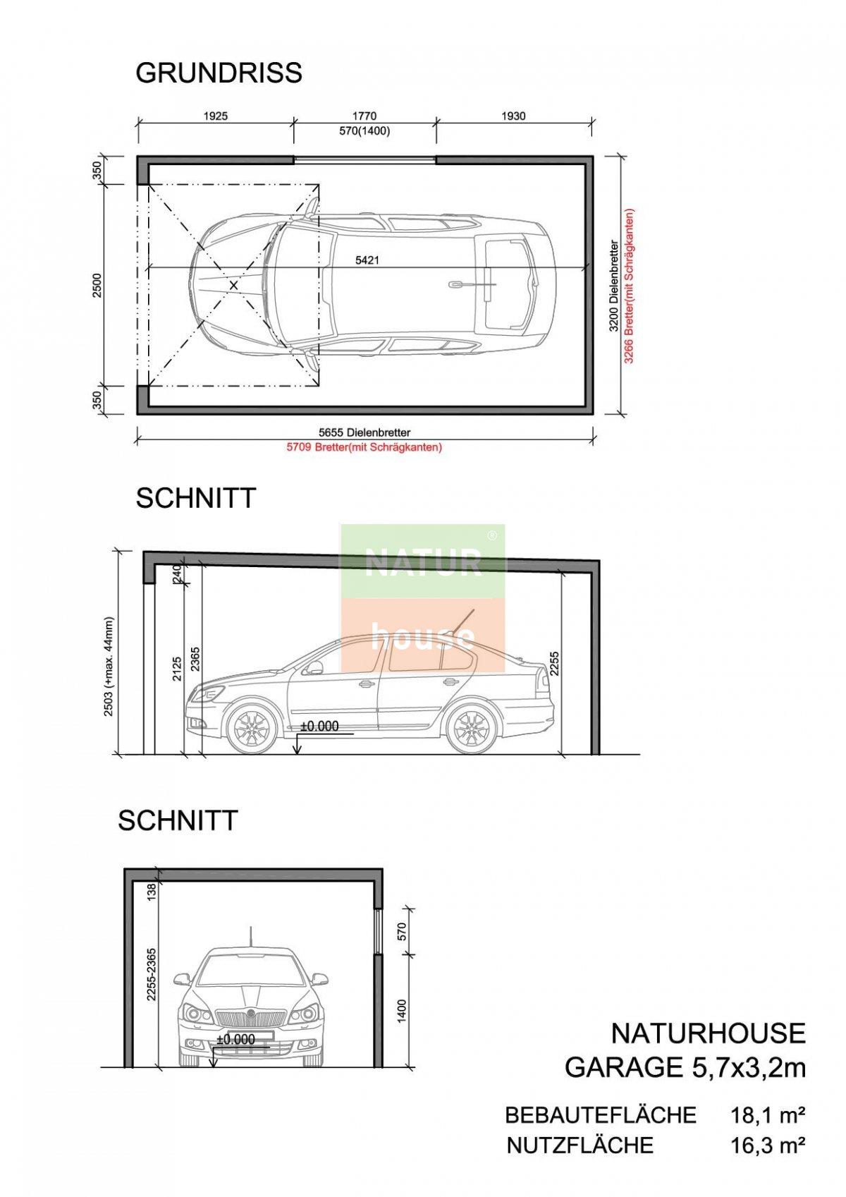 Fertiggarage grundriss  Montierte Holzgaragen 5,7x3,2 m | NATURHOUSE® -