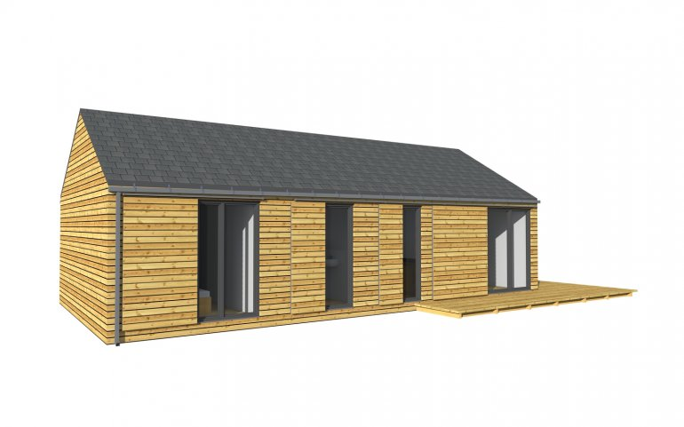 moderne Holzhäuser 12x6 m