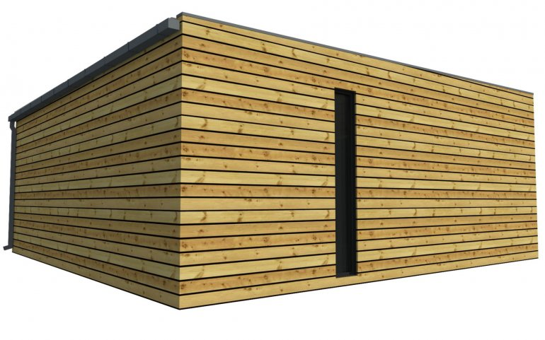Montierte Holzgaragen mit große gemeinsame Tor - 6,3 x 6,3 m