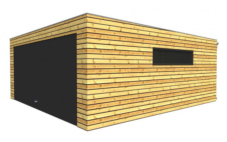 Montierte Holzgaragen mit große gemeinsame Tor - 5,7 x 6,3 m