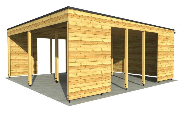 Carport P 6x6 m mit Wänden