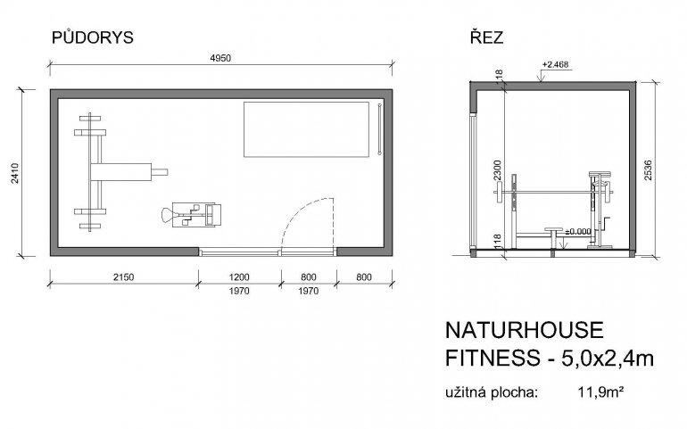 Außenfitnessraum 5x2,5 m