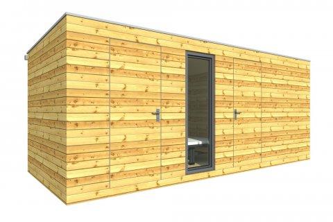 Außenholzsauna 4x2,5 m + Abstellraum 2x2,5 m