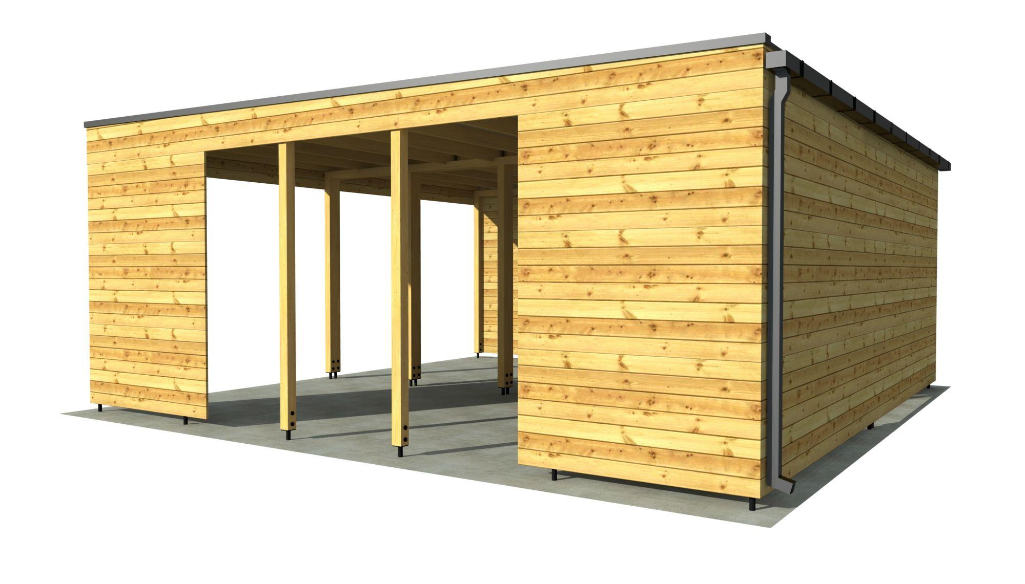Carport p m mit wänden naturhouse